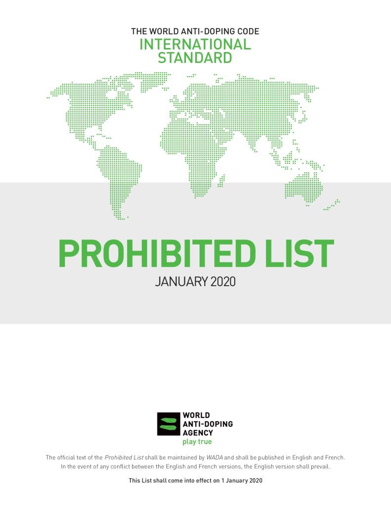 Tarptautinis standartas – draudžiamasis sąrašas 2020 m.